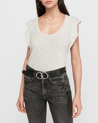 Express Heathered Slub Ruffle Sleeve Tee