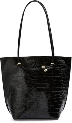 Topshop Pepper Croc Embossed Faux Leather Tote