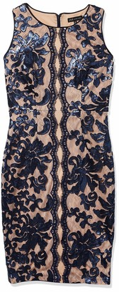 Jax Women's Sleeveless Sequin Lace Midi Length Sheath