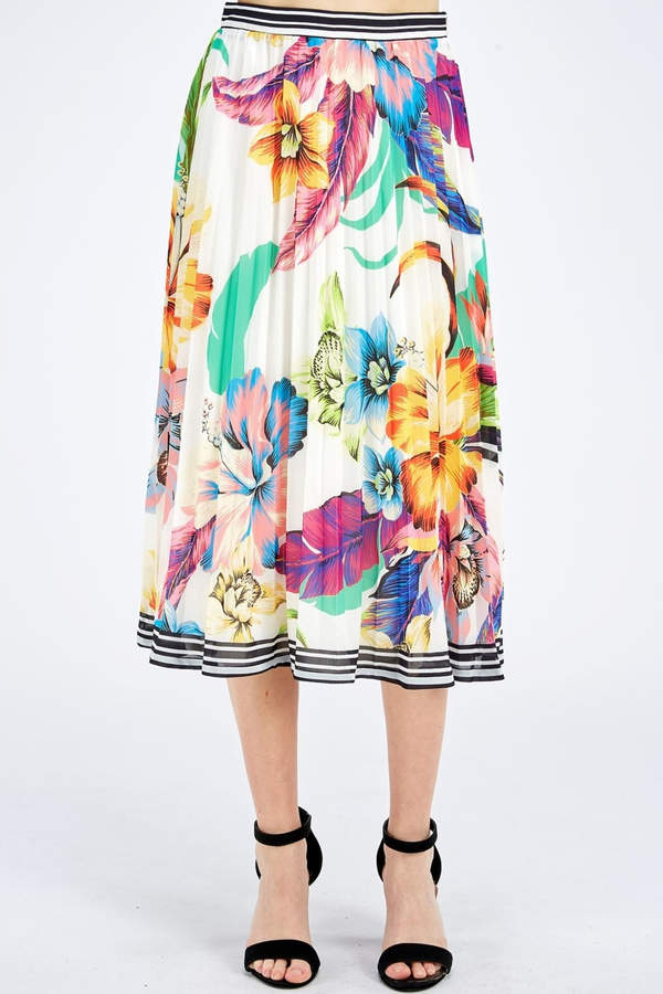 754a42c45cc7 Floral Pleated Skirt - ShopStyle