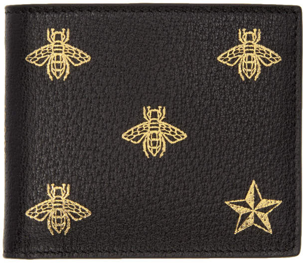 Gucci Black Bee Star Wallet