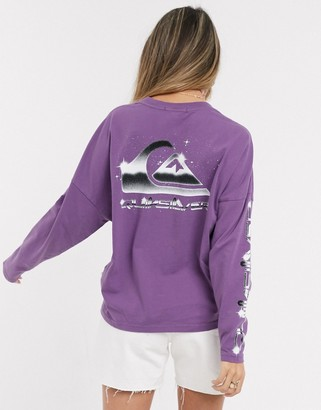 Quiksilver Boxy long sleeved t-shirt in purple