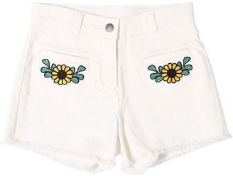 Stella McCartney EMBROIDERED STRETCH DENIM SHORTS