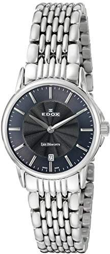 Edox Women's 57001 3M GIN Les Bemonts Analog Display Swiss Quartz Silver Watch