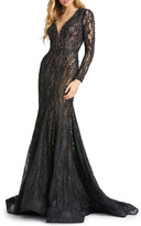 Mac Duggal Bead Embellished Long-Sleeve Lace Mermaid Gown