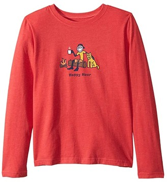 Life is Good Happy Hour Long Sleeve Vintage Crusher Knit Tee (Little Kids/Big Kids) (Heather Americana Red) Boy's T Shirt