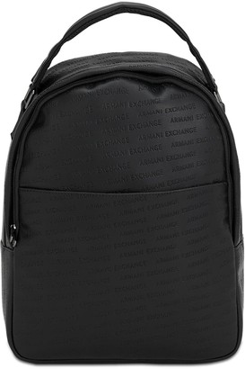 Armani Exchange Embossed Faux Leather Backpack