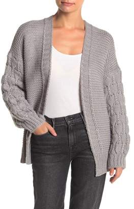 Cotton Emporium Textured Bubble Sleeve Open Cardigan