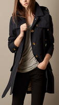 Burberry Mid-Length Faille Trench Coat with Removable Hood