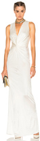 Lanvin Crossover Sleeveless Gown in White.