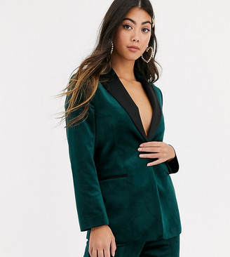 Asos DESIGN Petite velvet tux suit blazer in forest green