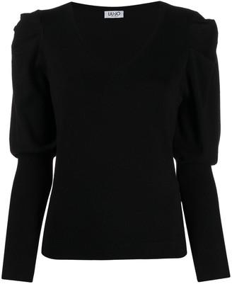 Liu Jo V-Neck Long-Sleeve Knitted Top
