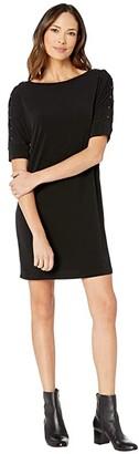 MICHAEL Michael Kors Dolman Sleeve Grommet Dress (Black) Women's Clothing