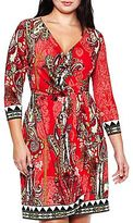 JCPenney 3/4-Sleeve Wrap Dress - Plus