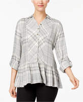 Style&Co. Style & Co Plaid Flannel Peplum Top, Created for Macy's
