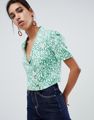 ASOS DESIGN boxy top with button front in green leopard animal print co-ord