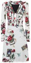 Roberto Cavalli Floral Tarot Card Print Ruffle Dress