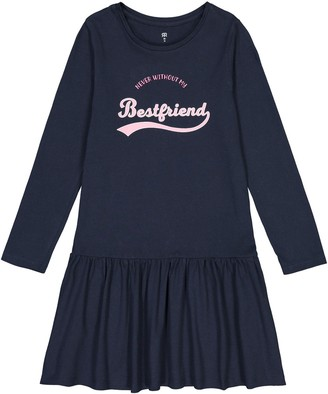 La Redoute Collections Cotton Slogan Dress with Long Sleeves, 3-12 Years