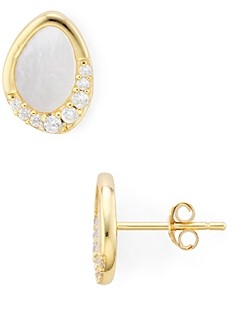 Argentovivo 18K Gold-Plated Sterling Silver Pave & Mother-of-Pearl Oval Stud Earrings