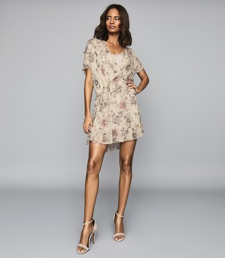 Reiss Blythe - Floral Printed Mini Dress in Nude