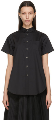 Sacai Black Poplin Wide Short Sleeve Shirt