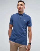 Abercrombie & Fitch Pique Polo Stretch Slim Fit Icon Logo In Blue