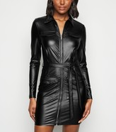 New Look Parisian Leather-Look Collared Dress