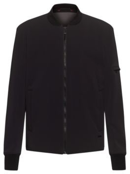 HUGO BOSS Slim Fit Bomber Jacket With Stand Collar - Black