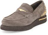 Versace Men's Embellished Suede Platform Loafer, Gray/Metallic