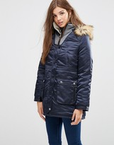 Girls On Film Hooded Parka with Faux Fur Trim