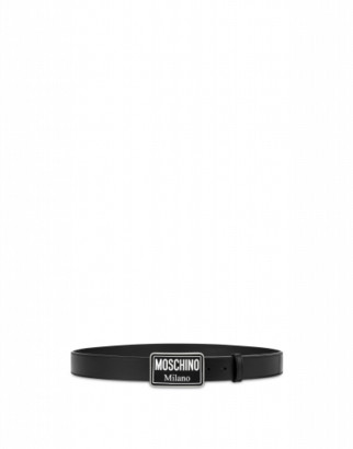 Moschino Calfskin Belt With Logo Buckle Man Black Size 46 It - (30 Us)