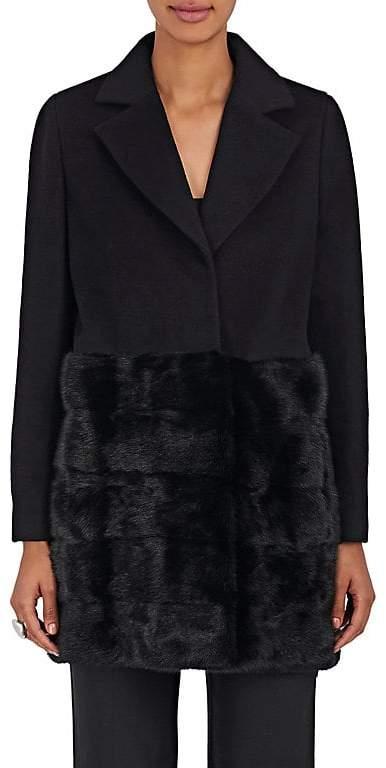 Co Women's Mink-Trimmed Wool Straight Coat
