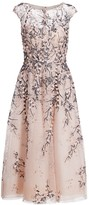 Teri Jon By Rickie Freeman Tulle Floral Lace Dress