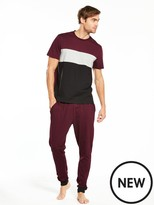 Very Short Sleeve Colour Block And Jersey Pj Set