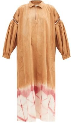 Story mfg. Alea Crochet-trim Clamp-dyed Organic-cotton Dress - Beige Multi