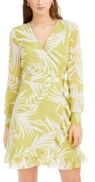 Bar III Palm-Print Wrap Dress, Created for Macy's