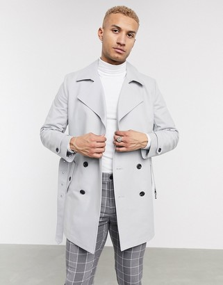Asos DESIGN double breasted trench coat with belt in gray