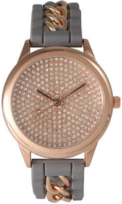 Olivia Pratt Womens Rose Gold-Tone Rhinestone Dial Grey Silicone Band With Chainlink Accents Watch 8213