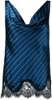 Gold Hawk lace-detail striped top