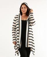Black & White Stripe Metallic Hooded Open Cardigan - Plus