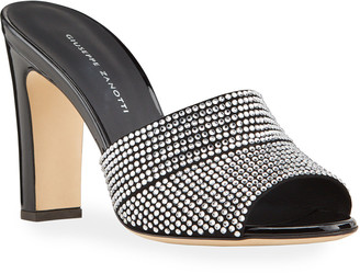 Giuseppe Zanotti Shimmery Crystal Slide Sandals