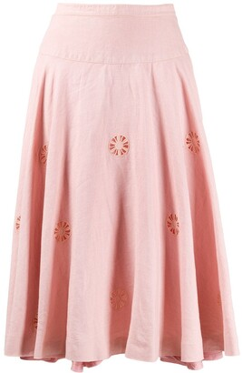Céline Pre Owned 1980s Pre-Owned Flower-Cut Flared Skirt