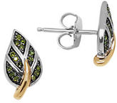 Lord & Taylor Green Diamond, Sterling Silver and 14K Yellow Gold Leaf Stud Earrings
