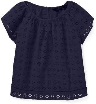 Ralph Lauren Childrenswear Little Girl's Eyelet Flutter-Sleeve Cotton Top