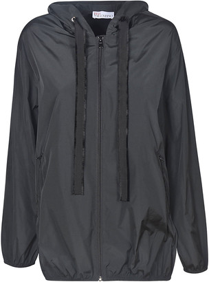 RED Valentino Pleated Back Zip Hooded Jacket