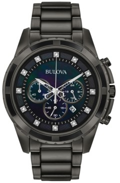 Bulova Men's Chronograph Diamond Accent Dark Gray Stainless Steel Bracelet Watch 44mm 98D133