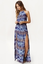 Blue Life Halter 2-Slit Dress in Riptide Tie Dye