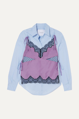 pushBUTTON Convertible Layered Cotton-poplin, Silk-charmeuse And Lace Shirt - Lilac
