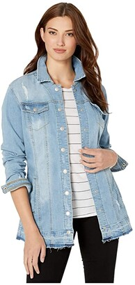 Tribal Distressed Maxi Jean Jacket (Blue Sky) Women's Clothing