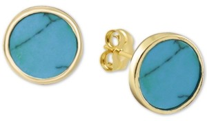 Argentovivo Reconstituted Turquoise Stud Earrings in 18k Gold-Plated Sterling Silver